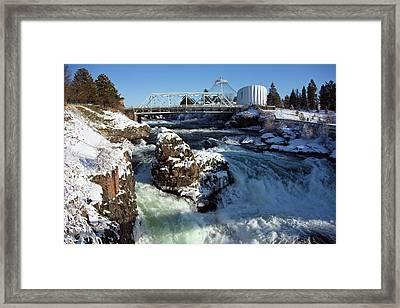 Upper Falls Winter - Spokane Framed Print