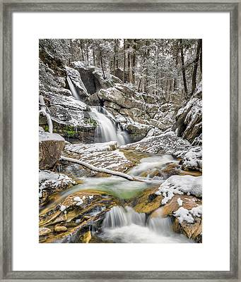 Upper Kent Falls Spring Snow 2016 Framed Print by Bill Wakeley