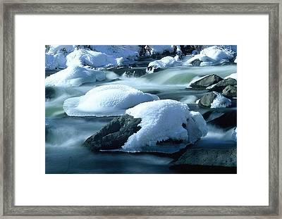 Upper Provo River In Winter Framed Print by Dennis Hammer
