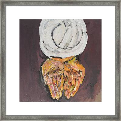 Upper View Of Arabic Man Offering With His Hands Framed Print
