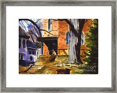 Framed Print featuring the painting Upper West Main Redstone Matted Framed Glassed by Charlie Spear