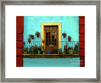 Upper Window In Turqoise Framed Print by Mexicolors Art Photography