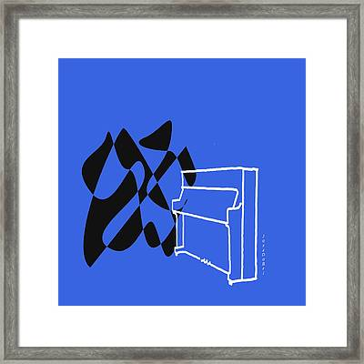 Upright Piano In Blue Framed Print