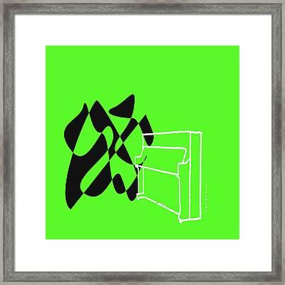 Upright Piano In Green Framed Print by David Bridburg