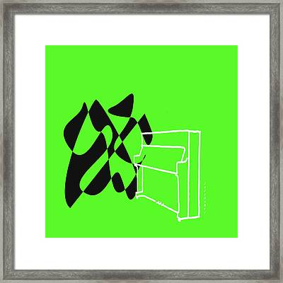 Upright Piano In Green Framed Print