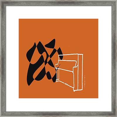 Upright Piano In Orange Framed Print by David Bridburg