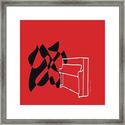 Upright Piano In Red Framed Print by David Bridburg