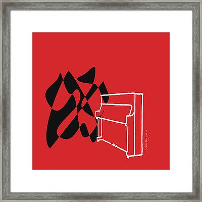 Upright Piano In Red Framed Print