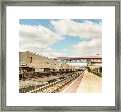 Ups Freight Train Framed Print by Eclectic Art Photos