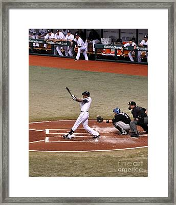 Upton At The Plate Framed Print by John Black