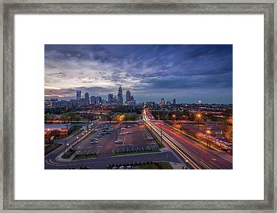 Uptown Charlotte Rush Hour Framed Print by Serge Skiba