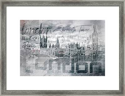 Urban-art London Houses Of Parliament And Red Buses I Framed Print by Melanie Viola