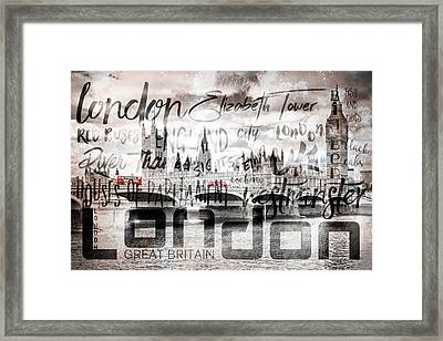 Urban Art London Houses Of Parliament And Red Buses II Framed Print by Melanie Viola