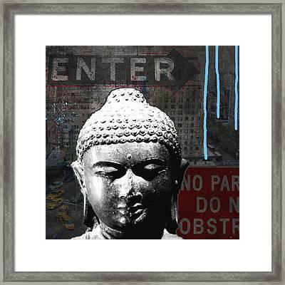 Urban Buddha 4- Art By Linda Woods Framed Print