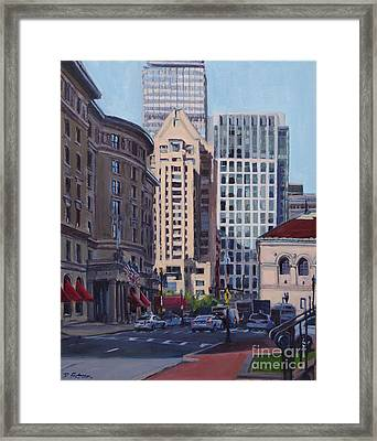 Urban Canyon - Saint James Street, Boston Framed Print by Deb Putnam