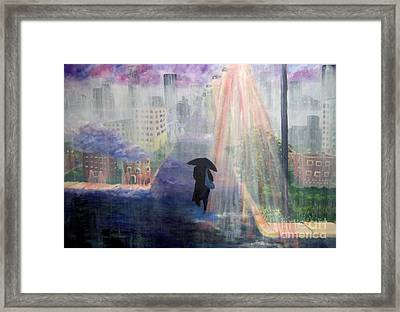 Framed Print featuring the painting Urban Life by Saundra Johnson