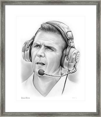 Urban Meyer Framed Print by Greg Joens