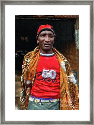 Maasai Urban Moran Framed Print by Morris Keyonzo