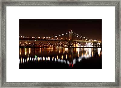 Urban Night Reflection Framed Print