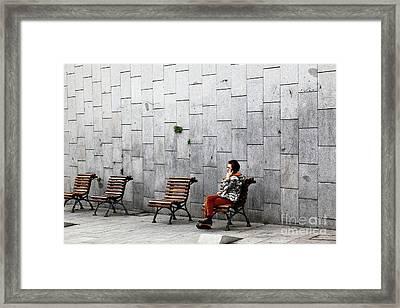 Urban Phone Conversation Framed Print by James Brunker