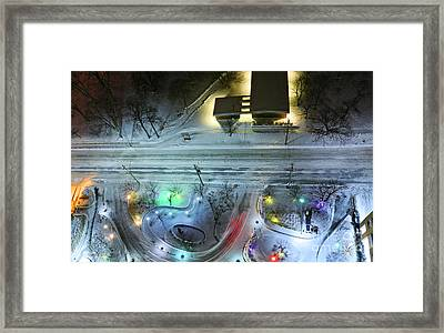 Framed Print featuring the photograph Urban Road And Driveway In Fresh Snow by Charline Xia