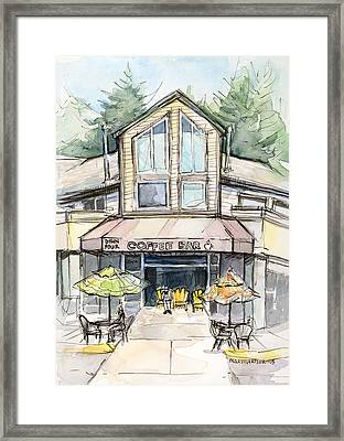 Coffee Shop Watercolor Sketch Framed Print by Olga Shvartsur