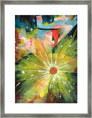Framed Print featuring the painting Urban Sunburst by Andrew Gillette