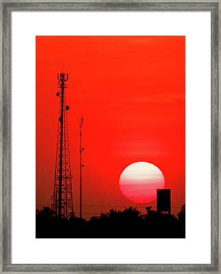 Urban Sunset And Radiostation Tower Silhouettes Framed Print by Rosita So Image