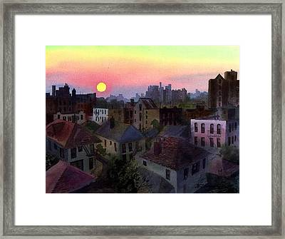 Framed Print featuring the painting Urban Sunset by Sergey Zhiboedov