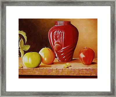 Framed Print featuring the painting Urn An Apple by Gene Gregory