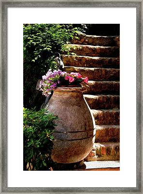 Urn And Flowers Portofino Italy Framed Print by Xavier Cardell