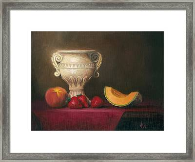 Framed Print featuring the painting Urn With Fruit by Joe Winkler