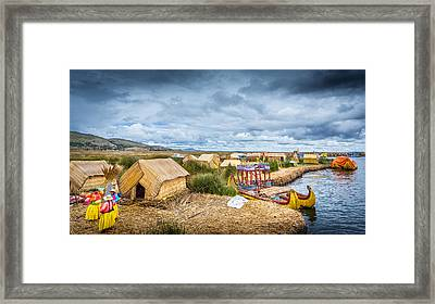 Framed Print featuring the photograph Uros Life by Gary Gillette