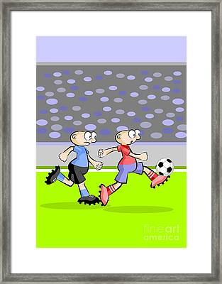Uruguay And Spain Face In A Soccer Match Framed Print
