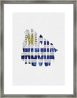 Uruguay Typographic Map Flag Framed Print