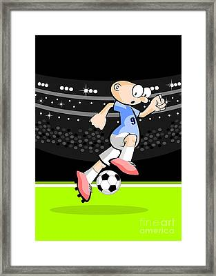Uruguayan Soccer Player Advances With The Ball Dominated Between His Feet Framed Print