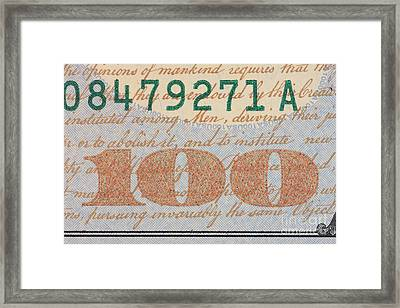 Us 100 Dollar Bill Security Features Framed Print