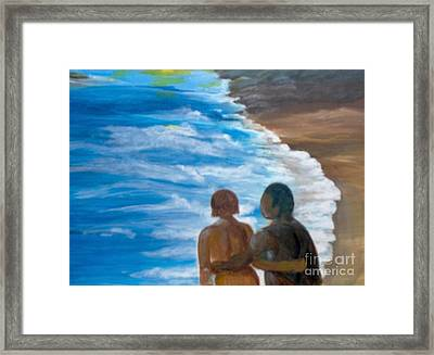 Framed Print featuring the painting Us Against The World by Saundra Johnson
