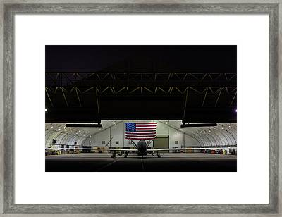 Us Air Force Eq 4 Global Hawk Assigned To The 380th Air Expeditionary Wing Await Routine Maintenance Framed Print