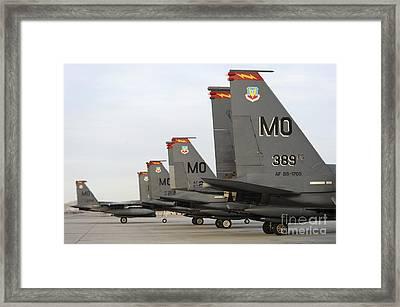 U.s. Air Force F-15e Strike Eagles Taxi Framed Print