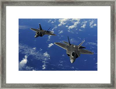 U.s. Air Force F-22 Raptors In Flight Framed Print by Stocktrek Images