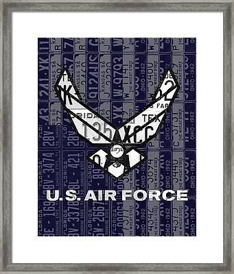 Us Air Force Logo Recycled Vintage License Plate Art Framed Print