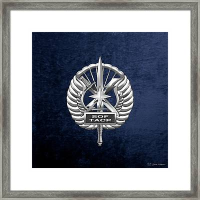 Framed Print featuring the digital art U.s. Air Force Tactical Air Control Party - Special Tactics Tacp Crest Over Blue Velvet by Serge Averbukh