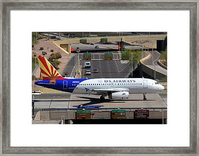 Us Airways Airbus A319-132 N826aw Arizona At Phoenix Sky Harbor March 16 2011 Framed Print by Brian Lockett