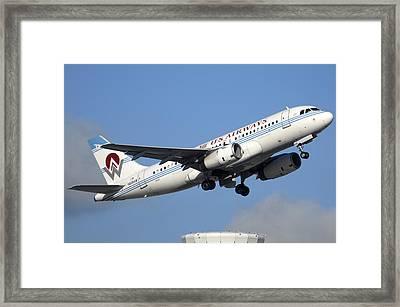 Us Airways Airbus A319-132 N828aw Phoenix Sky Harbor December 23 2010 Framed Print by Brian Lockett