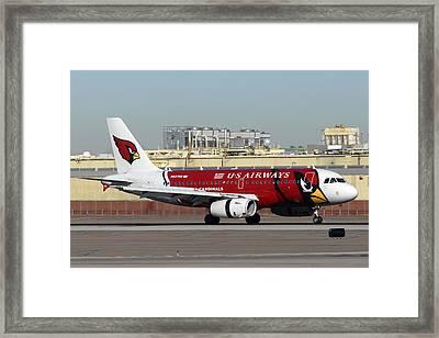 Us Airways Airbus A319 Arizona Cardinals Phoenix Sky Harbor November 10 2010 Framed Print by Brian Lockett