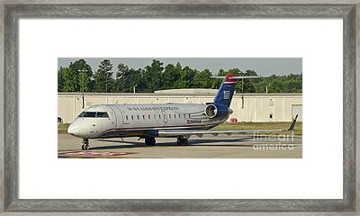 Us Airways Express Jet Plane Framed Print by David Oppenheimer
