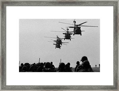 U.s. Army Black Hawk Helicopters Depart Framed Print by Everett