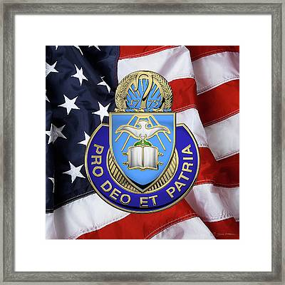 U.s. Army Chaplain Corps - Regimental Insignia Over American Flag Framed Print by Serge Averbukh