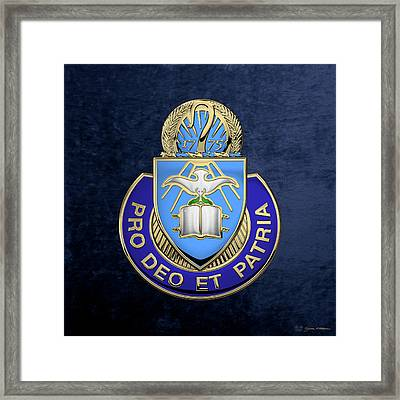 U. S. Army Chaplain Corps - Regimental Insignia Over Blue Velvet Framed Print by Serge Averbukh
